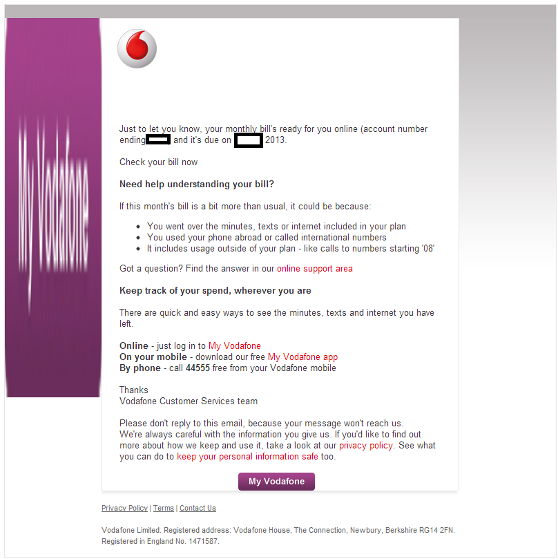 Fake 'Copy of Vodafone U K Contract/Your Monthly Vodafone Bill is
