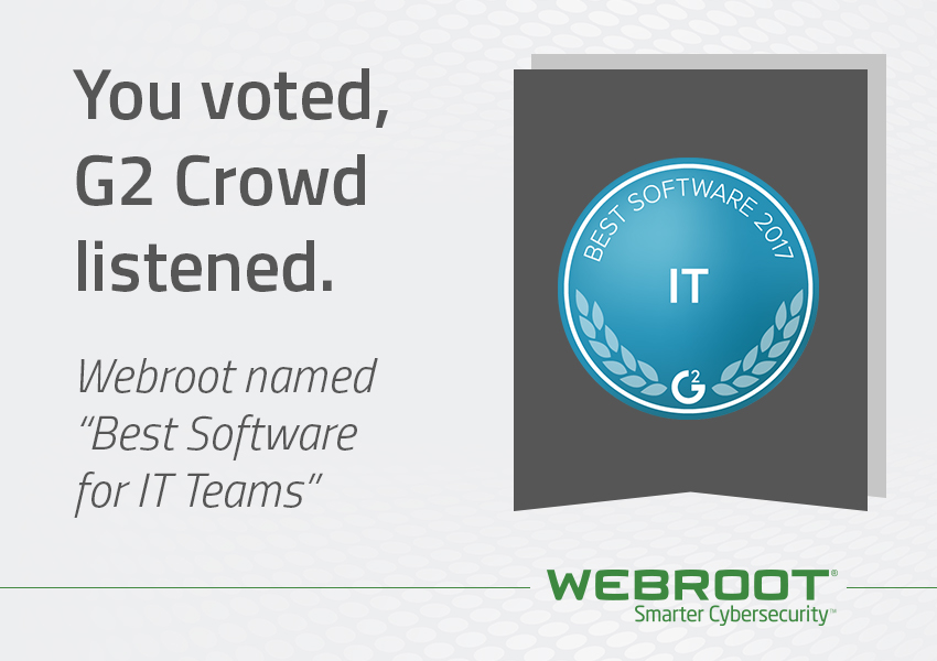 Webroot named among the Best Software Products for IT Teams 2017