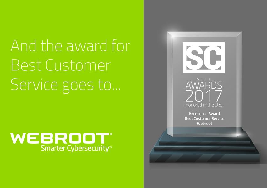 Webroot wins SC Award for Best Customer Service